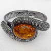 Bracelet, Imitate Amber Beads and Crystal Beads on a Zinc Alloy frame, width:37mm, Outer diameter:66mm, Sold by PC