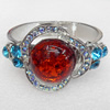 Bracelet, Imitate Amber Beads and Crystal Beads on a Zinc Alloy frame, width:42mm, Outer diameter:66mm, Sold by PC