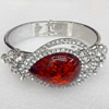 Bracelet, Imitate Amber Beads and Crystal Beads on a Zinc Alloy frame, width:33mm, Outer diameter:68mm, Sold by PC
