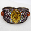Bracelet, Imitate Amber Beads and Crystal Beads on a Zinc Alloy frame, width:39mm, Outer diameter:78mm, Sold by PC