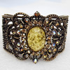 Bracelet, Imitate Amber Beads and Crystal Beads on a Zinc Alloy frame, width:50mm, Outer diameter:75mm, Sold by PC