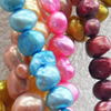 Natural Fresh Water Pearl Beads, Dyed, Two Sides Polished, Mix colour, Beads: about 8-9mm in diameter, Hole: 1mm, Sold p