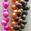 Natural Fresh Water Pearl Beads, Dyed, Potato, Mix colour, Beads: about 6-7mm in diameter, Hole: 1mm, Sold per 14-inch S