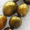Natural Fresh Water Pearl Beads, Dyed, Coin, Beads: about 13x5mm in diameter, Hole: 1mm, Sold per 14-inch Strand