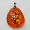 Imitate Amber Pendant, Nugget 52x44mm, Sold by PC