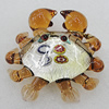 Lampwork Glass Decorations, Crab 53x55mm, Sold by PC