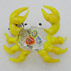 Lampwork Glass Decorations, Crab 60x52mm, Sold by PC