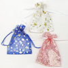 Organza Gift Jewelry Bag, Mixed Color, Golden Flower Pattern, about 10cm wide, 12cm long, Sold by Group