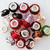 Handmade European Style Crystal Beads, Mix colour, Platina Plated Color Copper Core, 9x14mm Hole:approx 5mm, Sold by Bag