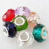 Handmade European Style Crystal Beads, Mixed color,Platina Plated Color Copper Core, 9x14mm Hole:approx 5mm, Sold by Bag