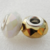 Handmade European Style Crystal Beads, Platina Plated Color Copper Core, 9x14mm Hole:approx 5mm, Sold by Bag