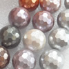 South Sea Shell Beads, Mixed color, 128Facets, 14mm, Hole:Approx 1mm, Sold per 16-inch Strand