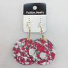 Resin Earrings, Flat Round 40mm, Sold by Group