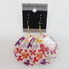 Resin Earrings, Flat Round 50mm, Sold by Group