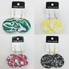 Resin Earrings, Mix Color, Flat Round 52mm, Sold by Group