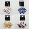Resin Earrings, Mix Color, Diamond 52mm, Sold by Group