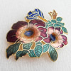 Cloisonne Brooch, Flower, 48x45mm, Sold by PC