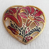 Cloisonne Brooch, Heart, 45x43mm, Sold by PC