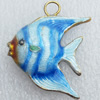 Cloisonne Pendant, Fish, 27x29x7mm, Hole:Approx 4mm, Sold by PC
