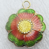 Cloisonne Pendant, Flower, 20x7mm, Hole:Approx 4mm, Sold by PC