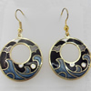 Cloisonne Earring, Donut, 28x46mm, Sold by Pair