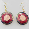 Cloisonne Earring, Flat Round, 25x41mm, Sold by Pair