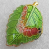 Cloisonne Beads, Leaf, 13x20x5mm, Hole:Approx 1.5mm, Sold by PC