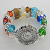 Alloy Watch Bracelets, with Glass Crystal Beads, Millefiori Glass Beads and Rhinestone, Watch Size: 26mm, Sold by PC