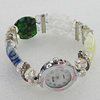 Alloy Watch Bracelets, with Glass Crystal Beads, Millefiori Glass Beads and Rhinestone, Watch Size: 22mm, Sold by PC