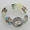 Alloy Watch Bracelets, with Glass Crystal Beads, Millefiori Glass Beads and Rhinestone, Watch Size: 31X21mm, Sold by PC