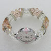 Alloy Watch Bracelets, with Glass Crystal Beads and Rhinestone, Watch Size:22mm, Sold by PC