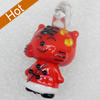 Handmade Lampwork Pendant, Tiger, 13x28mm, Hole:Approx 3mm, Sold by PC