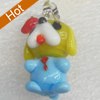 Handmade Lampwork Pendant, Dog, 15x27mm, Hole:Approx 3mm, Sold by PC