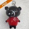Handmade Lampwork Pendant, Pig, 17x30mm, Hole:Approx 3mm, Sold by PC