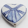 Ceramics Beads, Heart 28x26mm Hole:2.5mm, Sold by Bag