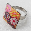 Iron Ring with Fimo, Square, Mix colour & Mix style, 20mm, Ring:18mm inner diameter, Sold by Box