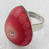 Iron Ring with Fimo, Teardrop, 19x26mm, Ring:18mm inner diameter, Sold by Box