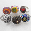 Iron Ring with Fimo, Flat Round, Mix colour & Mix style, 25mm, Ring:18mm inner diameter, Sold by Box