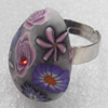 Iron Ring with Fimo, Teardrop, 19x25mm, Ring:18mm inner diameter, Sold by Box
