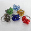 Iron Ring with Crystal Beads, 23mm, Mix color, Ring:18mm inner diameter, Sold by Box