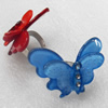 Iron Ring with Resin, Butterfly, 30x43mm, Mix color, Ring:18mm inner diameter, Sold by Box