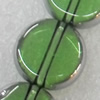 Electroplate Glass Beads, Flat Round, 12mm, Hole Approx:1mm, Sold per 16-inch Strand