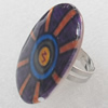 Iron Ring with Shell, 24x33mm, Ring:18mm inner diameter, Sold by Box