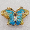 Cloisonne Beads, Butterfly 15x20x6mm Hole:1.5mm, Sold by PC