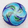 Cloisonne Beads, Flat Round 20x8mm Hole:1.5mm, Sold by PC