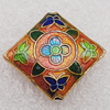 Cloisonne Beads, Diamond 21x20x5mm Hole:1.5mm, Sold by PC