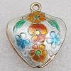 Cloisonne Pendants, Flower 21x25x8mm Hole:1.5mm, Sold by PC