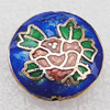 Cloisonne Beads, Flat Round 18x6mm Hole:1.5mm, Sold by PC