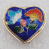 Cloisonne Beads, Heart 19x20x8mm Hole:1.5mm, Sold by PC