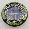 Cloisonne Beads, Flat Round 21x6mm Hole:1.5mm, Sold by PC